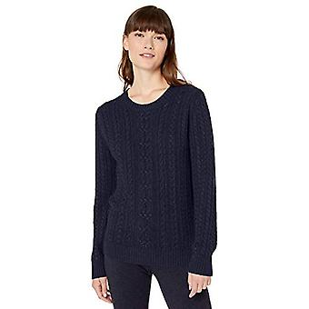 Essentials Women&s Fisherman Cable Crewneck Sweter, Navy, X-Large