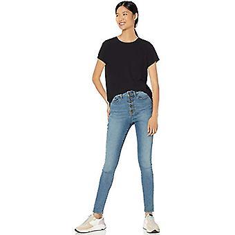 Merkki - Goodthreads Women's Washed Jersey Cotton Pocket Crewneck T-paita, Musta,Pieni