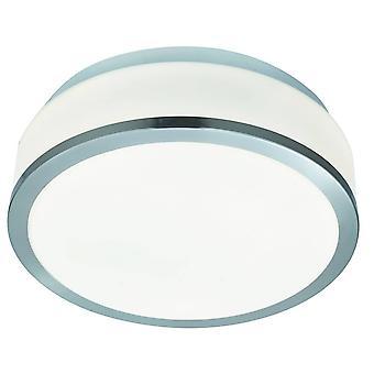 Searchlight Discs - Badkamer Flush 2 Light Ceiling Satin Silver, Opal IP44, E27