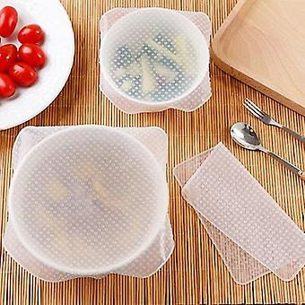 4pcs Silicone Bowl Covers Food Fresh Keeping Wrap Reusable Silicone Wrap Seal Lid Cover Stretch Vacuum Food Wrap