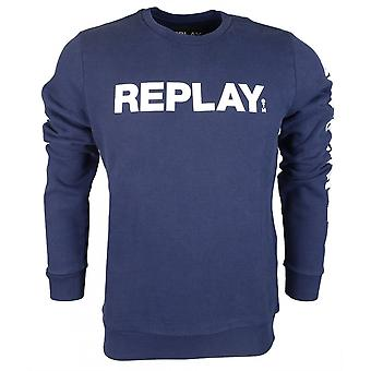 Replay Ronde Nek Katoen Navy Sweatshirt