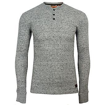 Superdry men's l/s micro texture grey space dye henley t-shirt