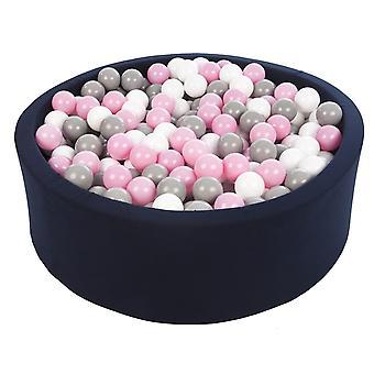 Ball pit granatowy z 450 kulkami 90 cm biały, jasnofioletowy i szary