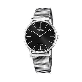 Festina Swiss F20014-3 Men's Swiss Made Black Dial Mesh Strap Wristwatch