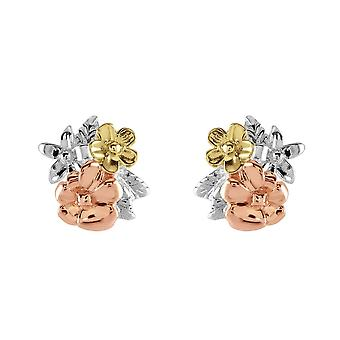 Dew Sterling Silver Flower Cluster Rose & Gold Plate Stud Earrings 40806RGD