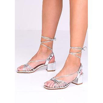 Kunstleder Lace Up Block Ferse Sandalen Silber