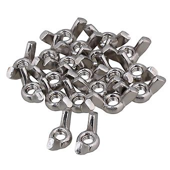 20pcs Silvery White Butterfly M8 Nuts 304 Stainless Steel