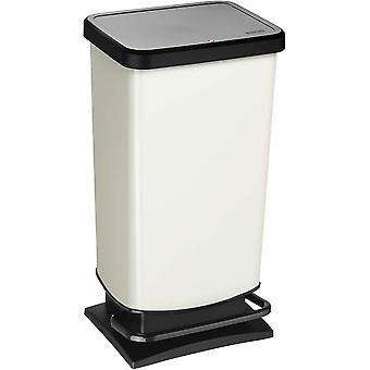 Cubo de basura Rotho Paso 40l con pedal y tapa, plástico (PP) sin BPA, metal blanco, 40l (35.3 x 29.5 x 67.6 cm)