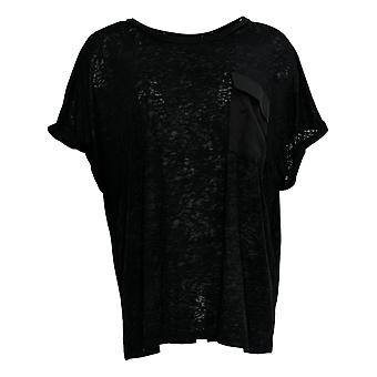 DG2 por Diane Gilman Women's Top Slub Pocket Knit Tee Black 697-858