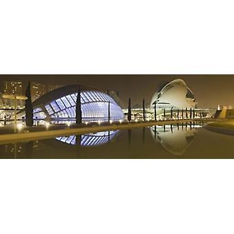 Opera house at the waterfront Ciutat De Les Arts I Les Ciencies Valencia Spain Poster Print