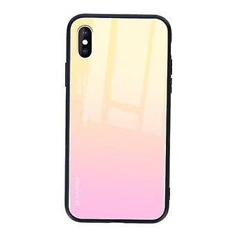 الاشياء المعتمدة ® iPhone XS حالة التدرج - TPU والزجاج 9H - شوكة غلاف غلاف غلاف لامع TPU الأصفر