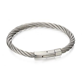 Fred Bennett Stainless Steel Twisted Wire Cable Bracelet