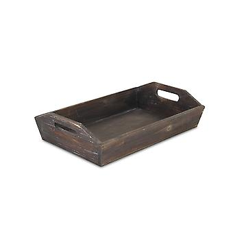 Rectangular Brown Wood Finished wit Side Cut Out Handle Tray