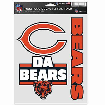 NFL Sticker Multi-Use Set of 3 20x15cm - Chicago Bears
