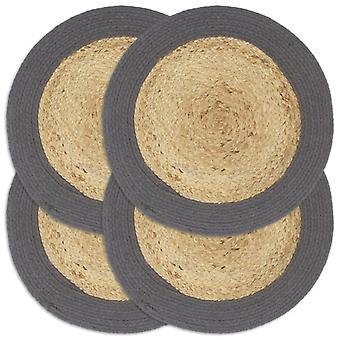 vidaXL placemats 4 pcs. natural and anthracite 38 cm jute and cotton
