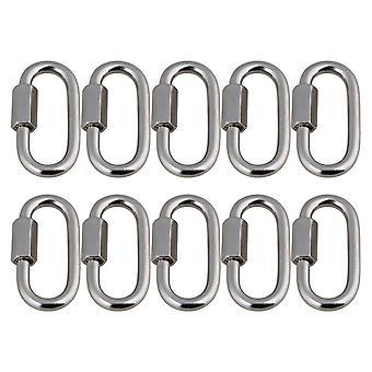 Silver Tone Metal Oval Screwlock Quick Link Lock Ring Carabiner M5 Ensemble de 10