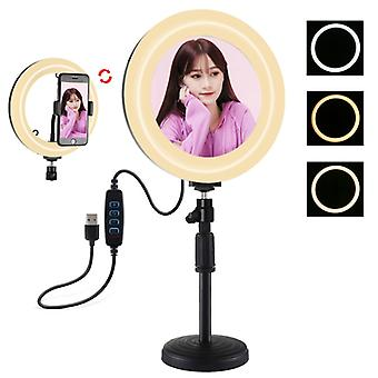 PULUZ 7.9 inch 20cm Mirror Light + Round Base Desktop Mount 3 Modes Dimmable Dual Color Temperature LED Curved Light Ring Vlogging Selfie Photography