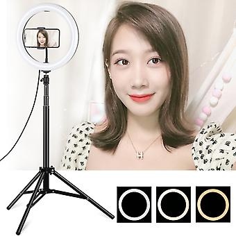 PULUZ 1.65m Tripod Mount + 10.2 inch 26cm Curved Surface USB 3 Modes Dimmable Dual Color Temperature Ring Vlogging Video Light Live Broadcast Kits wit