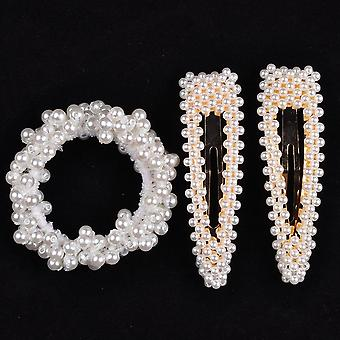 Woman Elegant Pearl Hair Ties, Beads Scrunchies, Rubber Bands, Ponytail