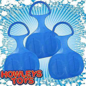Pack van 3 kunststof sneeuw Skimmer Bump slee - alle blauw