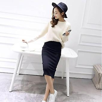 Autumn Winter Bodycon Skirt Women Stretchable Split Mid Calf Slim Pencil Female