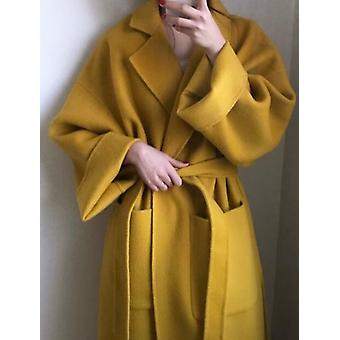 Women Elegant Winter Cashmere Overcoat Long Bandage Woolen Coat