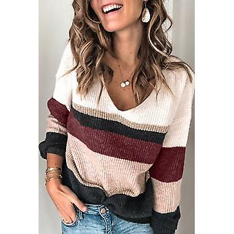Casual Color-block Striped V Neck Sweater