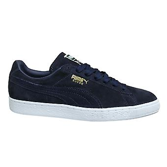 Puma Suede Classic + Navy Blue Leather Low Lace Up Mens Trainers 356568 52