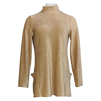 Susan Graver Women's Top Corduroy Mock Neck Tunic W/ Pockets Brown A384243