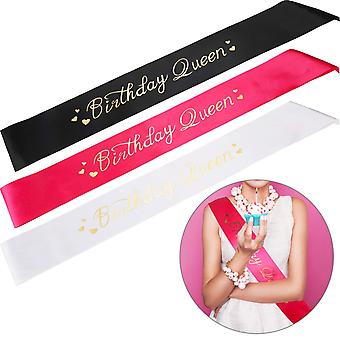 Zonon 3 pieces birthday queen sash - birthday satin sash with gold painting for girls women birthday party supplies