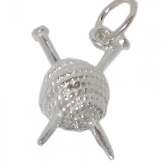 Knitting Needles In Ball Of Wool Sterling Silver Charm .925 X 1 Charms - 253