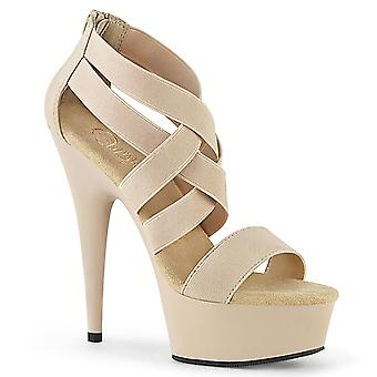 Pleaser נשים&נעליים DELIGHT-669 עירום אלסטי הלהקה-עור מזויף / מט עירום