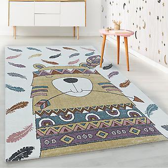 ShortFlor niños alfombra amarillo oso indio pluma diseño alfombra de vivero suave
