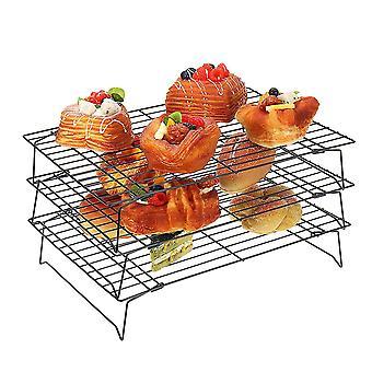 Stainless Steel Three-layer Folding Baking Cooling Rack Biscuit Rack Drying Net Baking Applia