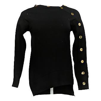 IMAN Global Chic Women's Jersey Pullover asimétrico Snap Black 713-078