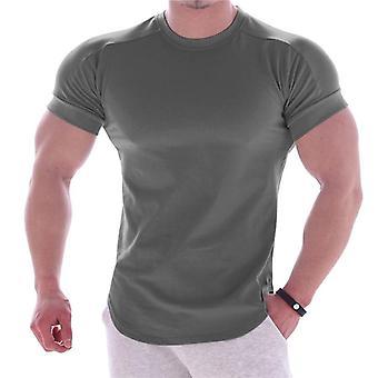 男性半袖ファッションTシャツジムフィットネススポーツコットン男性ボディービル
