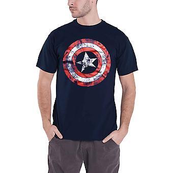 Captain America T Shirt Distressed Shield Logo new Official Marvel Comics Mens