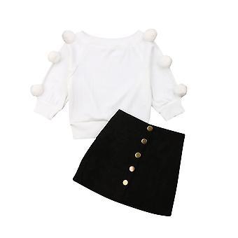 Jesenné zimné oblečenie, Toddler Baby Hairball Pletené Topy a Mini sukňa