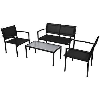 4 Piezas Jardín Salón Set Textilene Negro