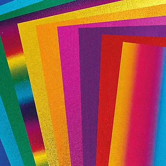10 Assorted Sheets of A4 Metallic Rainbow Craft Foam - 2mm Thick