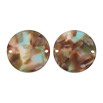 Zola Elements Acetate Connector Link, Mermaid Coin 20mm, 2 piezas, Multicolor