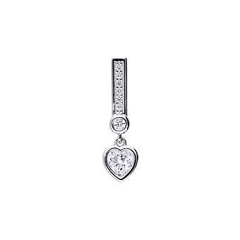 Diamonfire Womens 925 Sterling Silver Rhodium, Palladium & Platinum Plated Clear Cubic Zirconia Heart Drop & Pave Set Bale Hänge Halsband av längd 40cm - 45cm