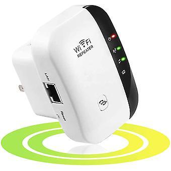 מאריך טווח מאיץ WiFi 300Mbps מאריך אלחוטי רשת אותות מאיץ (WPS, התקנה קלה, יציאת Ethernet אחת, אנטנות מובנות, 2.4GHz)לבן