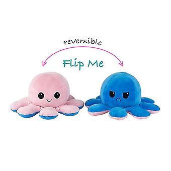 Omkeerbare Octopus Plushie Dubbelzijdig Flip Doll Show Mood Toy (Roze Blauw)