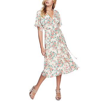 1.STATE Womens Ikat Bouquet Printed Wrap Dress