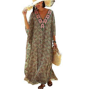 דפוס פרחוני נשים Kaftan בגדי ים V צוואר Suncreen ביקיני לכסות