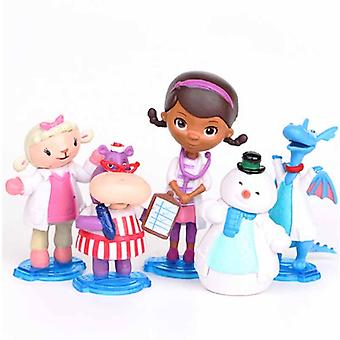 5pcs/lot Doc Mcstuffins Figures Doctor Lambie Sheep Stuffy Dragon Hallie Hippo Chilly Snowman Model Toys For Children Gift