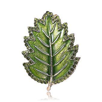 Korsage Leaf Dziewczyna Broszka Rhoinestone Inlaid Malowane Broszka Pin Zielony