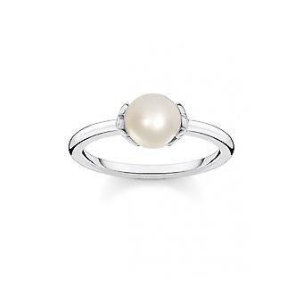 Thomas Sabo Sterling Silver Sterling Silver Freshwater Pearl Zirconia Star Ring TR2298-167-14