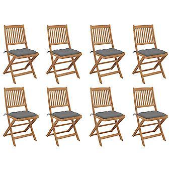 vidaXL Sillas de jardín plegables con cojines 8 piezas de madera maciza acacia
